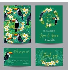 Tropical flowers and birds wedding card vector