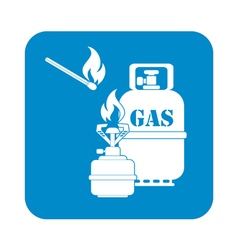 Camping stove with gas bottle icon vector