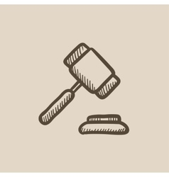 Auction gavel sketch icon vector
