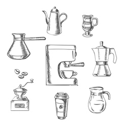 Beverage sketch icons around the coffee machine vector image