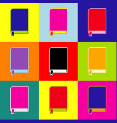 book sign pop-art style colorful icons vector image