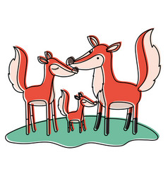 Cartoon fox couple and cub over grass in vector