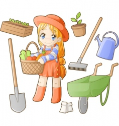chibi professions sets gardener vector image vector image