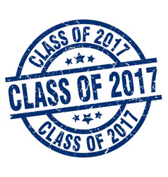 Class of 2017 blue round grunge stamp vector