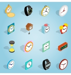 Clock set icons isometric 3d style vector image