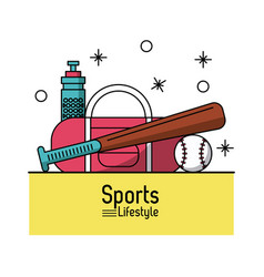 colorful poster of sports lifestyle with baseball vector image vector image
