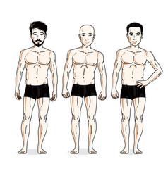 Confident handsome men group standing in black vector