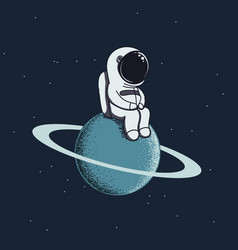 Cute baby-astronaut sits on neptune vector