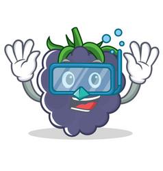 Diving blackberry character cartoon style vector