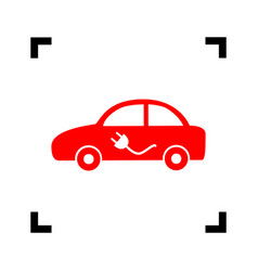 Electric car sign red icon inside black vector