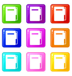 file folder icons 9 set vector image