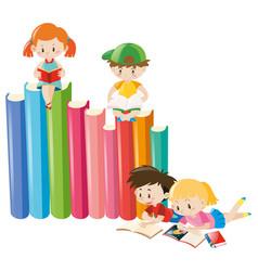 four children reading books vector image