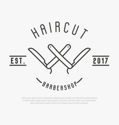 Hipster logo for barber shop with cut throat razor vector
