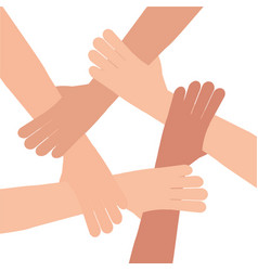 human hand connection teamwork vector image