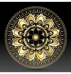 Islamic gold on dark mandala round ornament vector