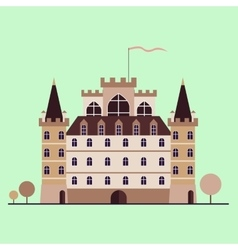 Isolated stylized medieval castle vector image