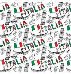 Italy hand drawn seamless pattern with flag vector