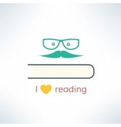 love reading banner with heart and book in vector image vector image