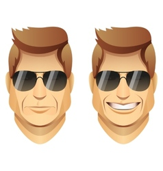 male faces with sunglasses vector image vector image