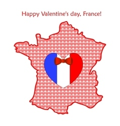 Map of France with flags and hearts vector image vector image