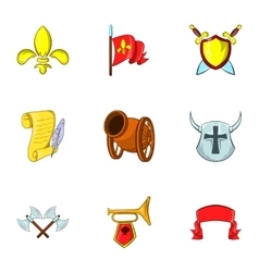 Medieval armor icons set cartoon style vector
