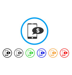 mobile financial message rounded icon vector image