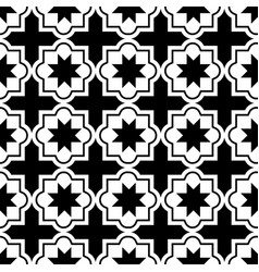 Moroccan tiles design seamless black pattern vector