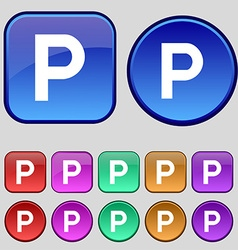 Parking icon sign a set of twelve vintage buttons vector