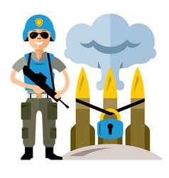 Peacemaker in blue helmet flat style vector