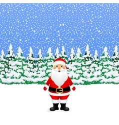 Santa claus in the winter snowy forest vector