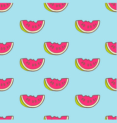 Seamless summer pattern with color watermelon vector