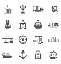Seaport black icons set vector