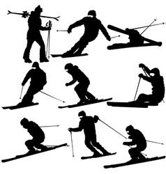 Set mountain skier speeding down slope vector image vector image