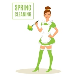 Sexy Maid Cleaning Lady Dusting vector image
