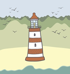 ShipLighthouse16 vector image