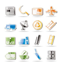 simple business and industry icons vector image vector image
