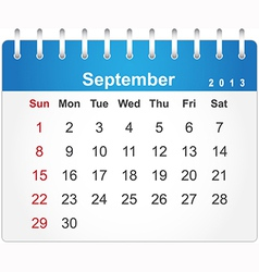 Stylish calendar page for September 2013 vector image vector image
