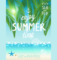 Tropical beach poster enjoy summer vector