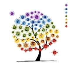 Yoga tree with chakras sketch foy your design vector image