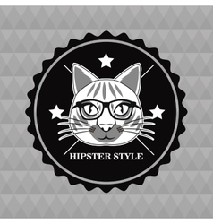 Cat animal hipster style vector image