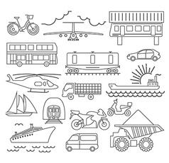 Transportation icon set Thin line design vector image