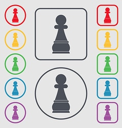 Chess pawn icon sign symbol on the round and vector