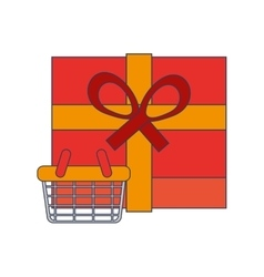Giftbox and shopping basket icon vector