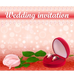 Wedding background with a white rose vector