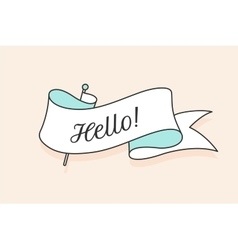 Greeting card with ribbon and word hello vector