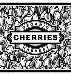 Retro cherry harvest label black and white vector