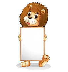 A lion holding an empty bulletin board vector