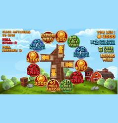 Bonus game for slots game in farm style vector