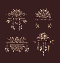 Gold decoration of tribal style with motivate vector