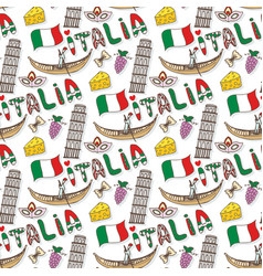 Italy seamless pattern with flag and culture vector